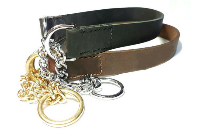 "Soft Leather Half check collar - 3/4"" wide"