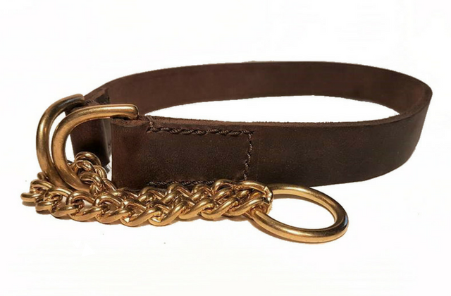 Soft Leather Half check collar - 1' wide