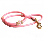 Bling Leather dog show lead (Brass/Gold bling)