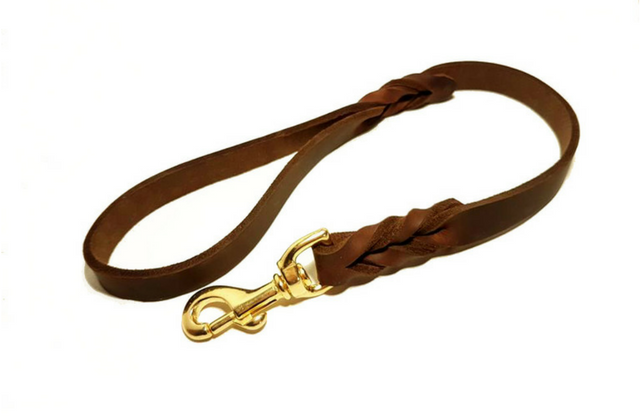 Short leather dog lead - Soft leather