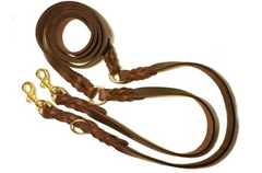 Double ended dog lead - Soft leather