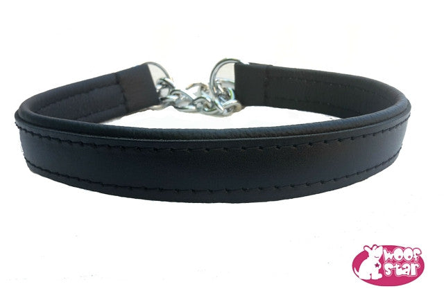 Leather half check dog collar