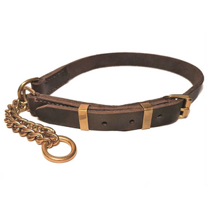 Adjustable half check collar - soft leather