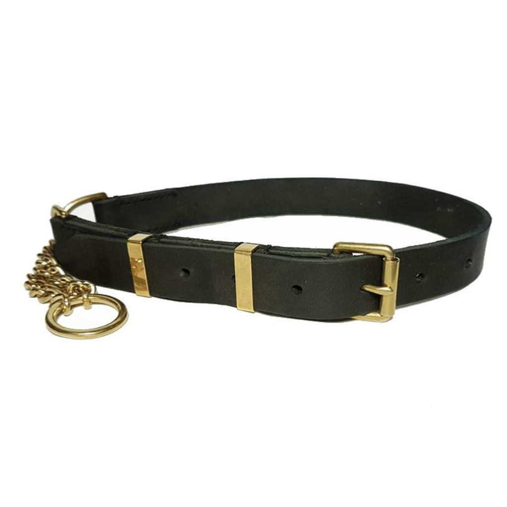 adjustable leather half check collar - brass