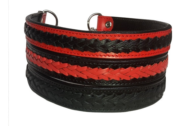 Half Check Collar - Plaited Half Check Collar - Black&Red