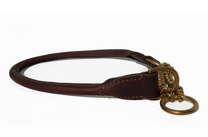 Rolled leather half-check collar - BRASS