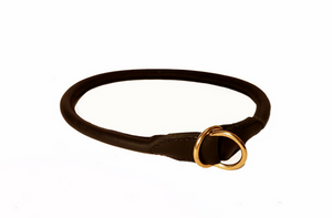 rolled leather slip dog collar
