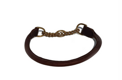 Rolled leather half-check collar - NICKEL