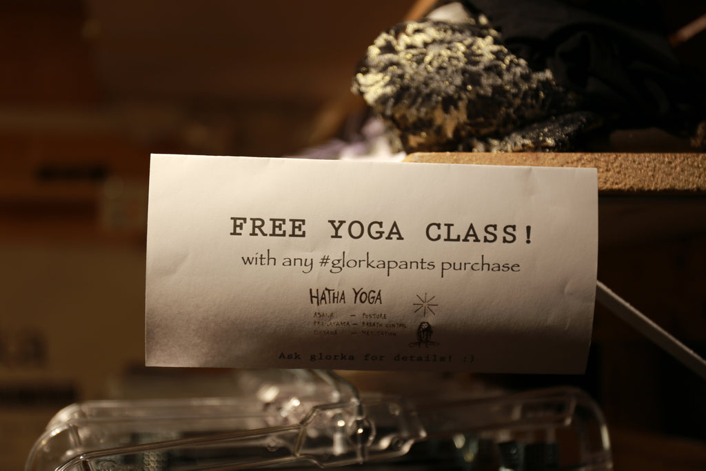 Glorkapants and free yoga class