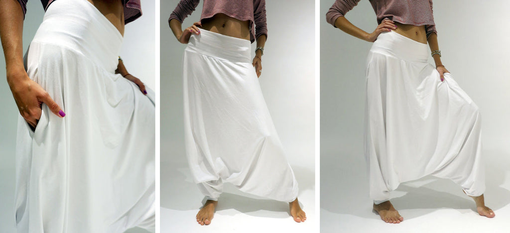 glorka white harem pants