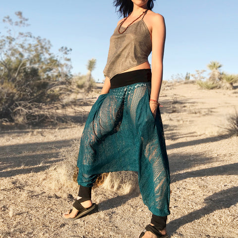 Boho Emerald Lace Pants