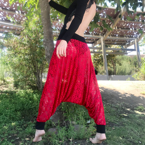 Bright Red Lace Pants