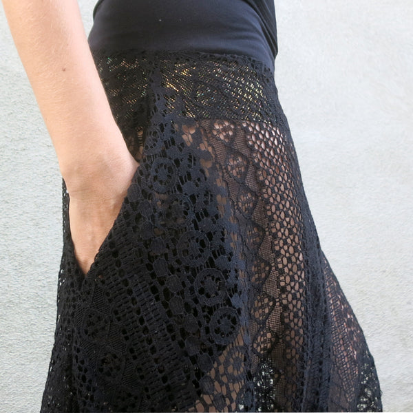 Black Textured Lace Pants