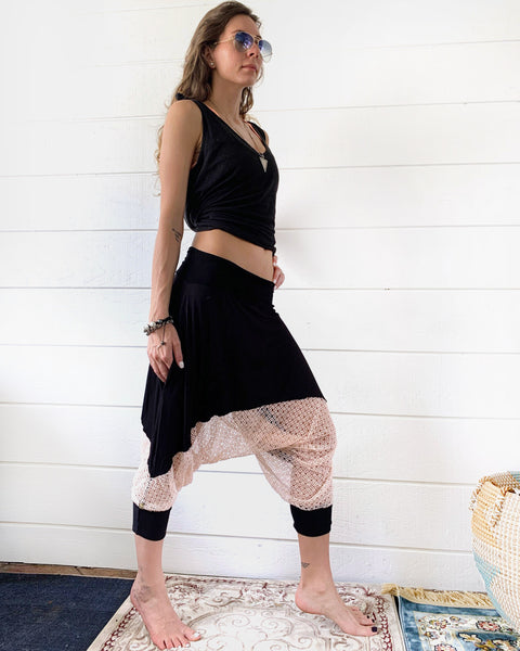 Pink on Black | Lace Pants