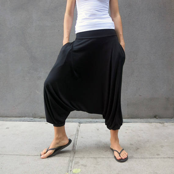 Glorka Urban Casual Harem Baggy Drop Crotch Low-Crotch Pants Slacks Trousers