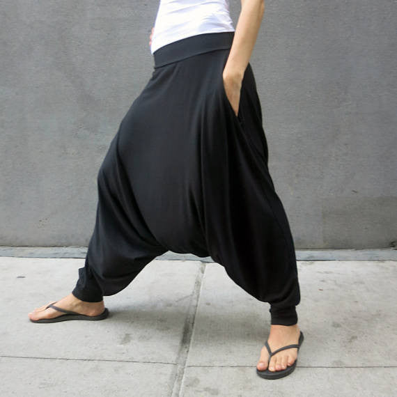 Glorka Urban Casual Harem Baggy Low-Crotch Pants Slacks Trousers
