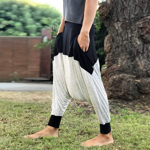 Stretch Cotton Men Harem Samurai Pants, Burning Man Costume, Kundalini Yoga Loose Pants