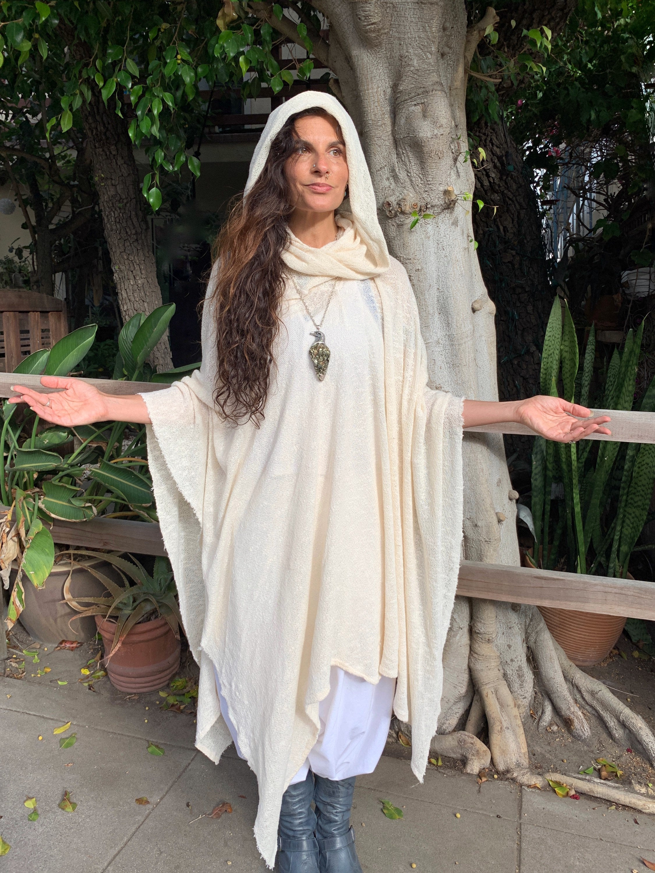 White Knit Poncho, Jedi Cape, Ceremony Cape, Long Overall with Hood, Poncho Desert Shawl, Hooded Poncho