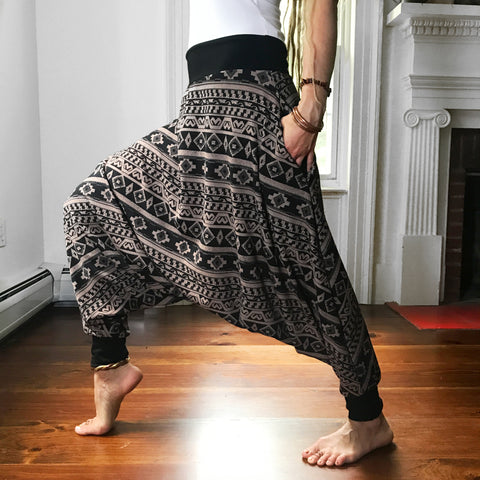 Tan & Black | Unisex Harem Pants