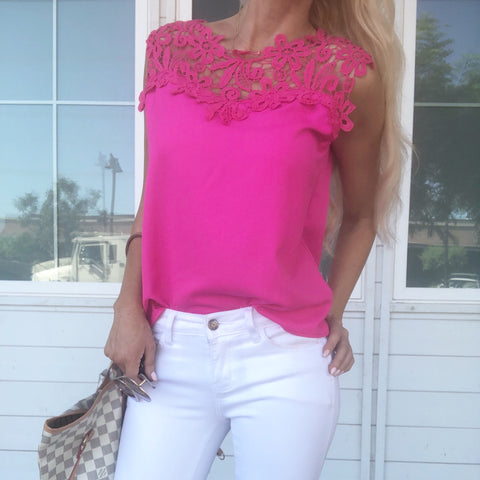Lace Crochet Top in Hot Pink