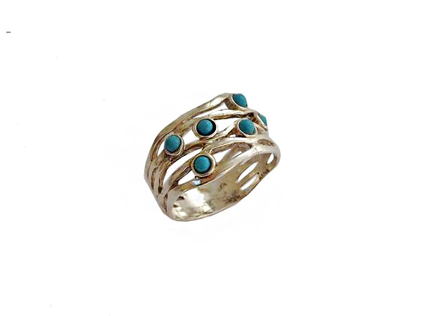 Silver Ring with Turquoise Stones / #R6