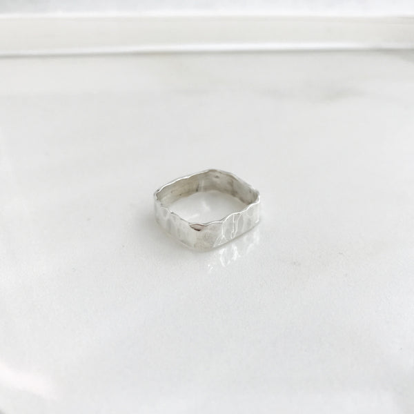 Wide Hammered Ring - Square -//#SQHR2