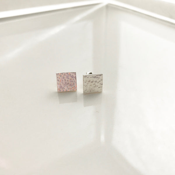 Hammered Square Studs - /#SHE2