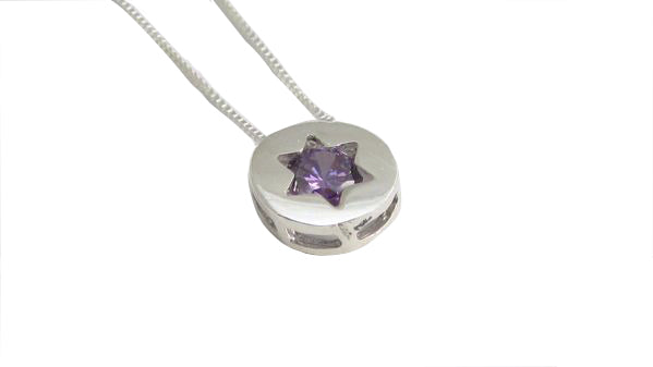Star of David Pendant with Purple Stone / #STP