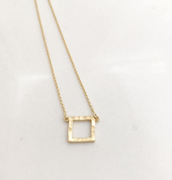 Hammered Square Pendant -14K Gold -/#OSHP1