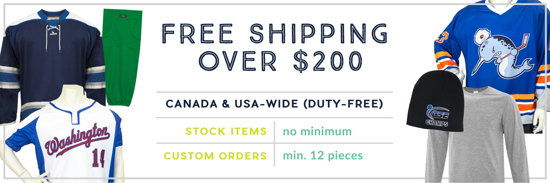 Free shipping to Canada and the United States on orders over $200