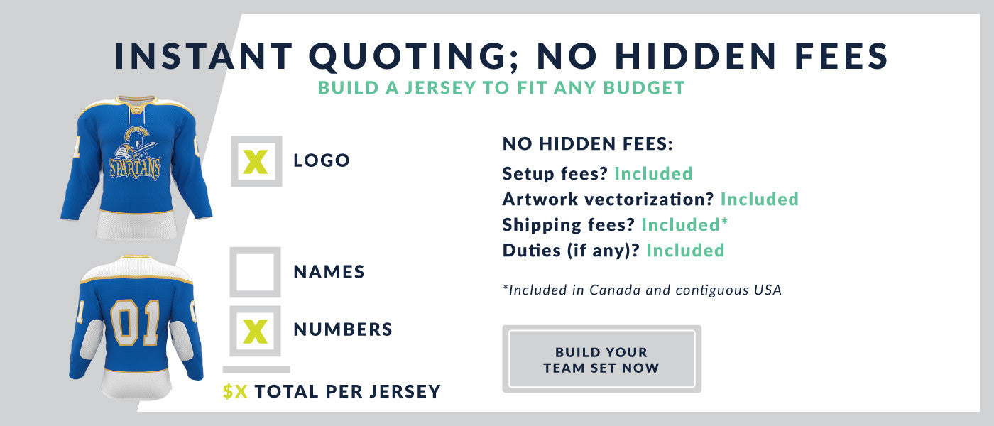 JerseysMadeEasy.com Custom Hockey Jersey Pricing Quote