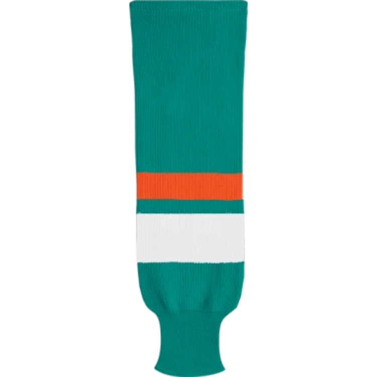 Knit Alternative Colour Socks: Teal/White/Bright Orange