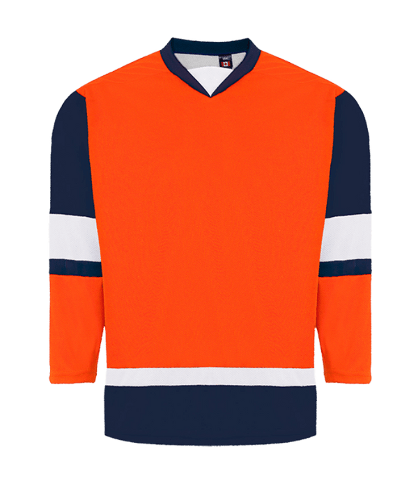 House League Jersey: Bright Orange/Navy/White