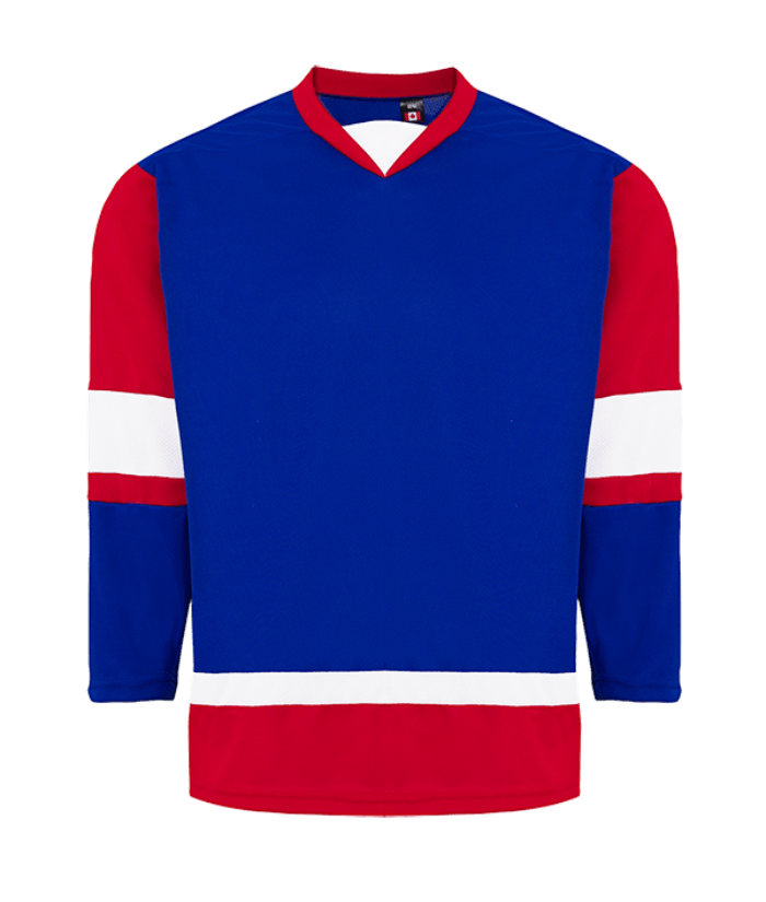House League Jersey: Royal Blue/Red/White