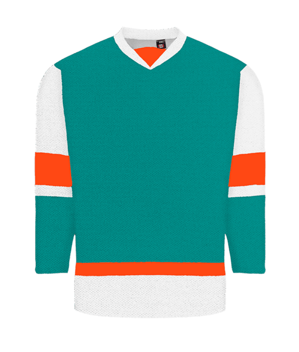 House League Jersey: Teal/White/Bright Orange