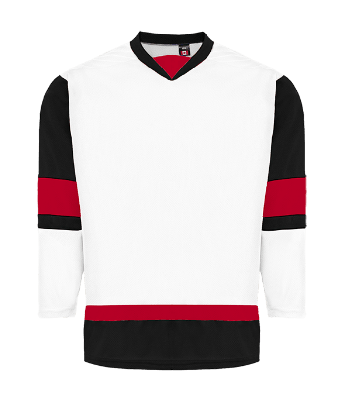 House League Jersey: White/Black/Red