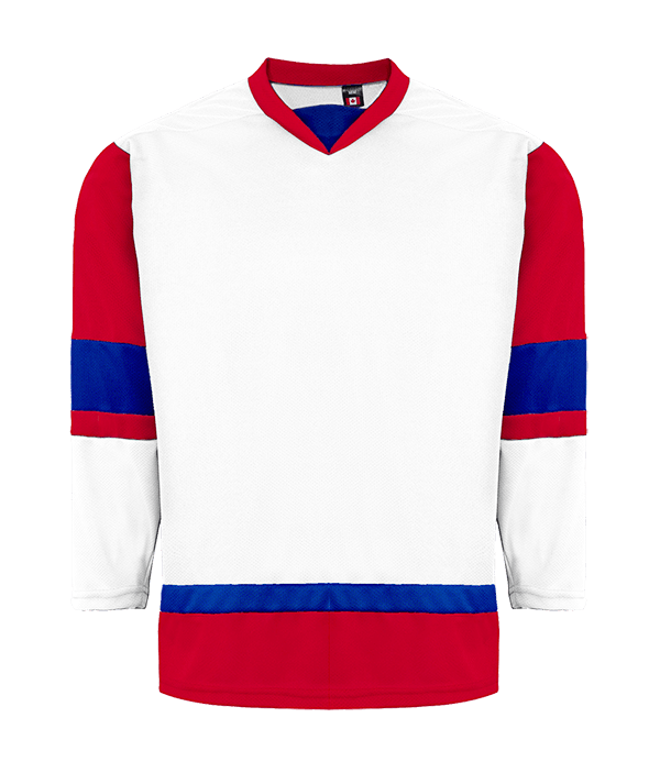 House League Jersey: White/Red/Royal Blue