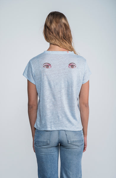 Eyes on my back deluxe linen teeshirt