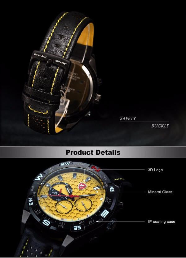 Official Shark Shortfin Luxury Leather Band Sport Watch