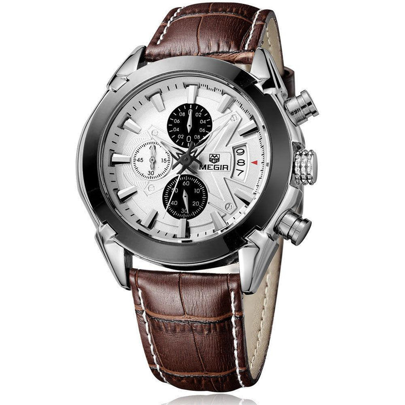 Men's MEGIR Chronograph Function Titan Watch Genuine Leather Luxury Men's Military Watches