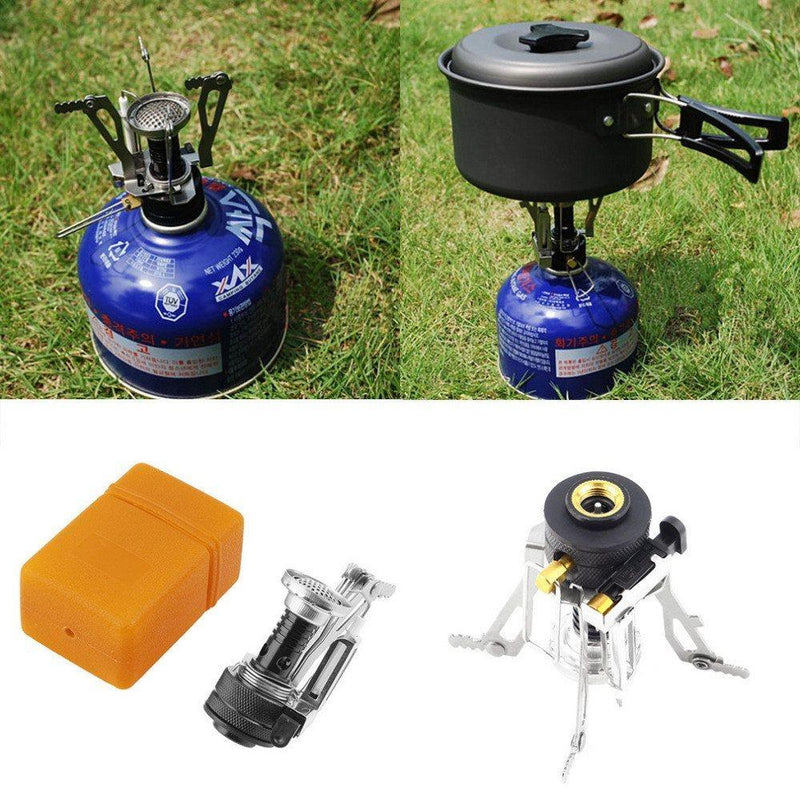 Portable Mini Steel Camping Stove Manual Butane 3-5 Survival Outdoor Picnic Case - Gogobomo Gear
