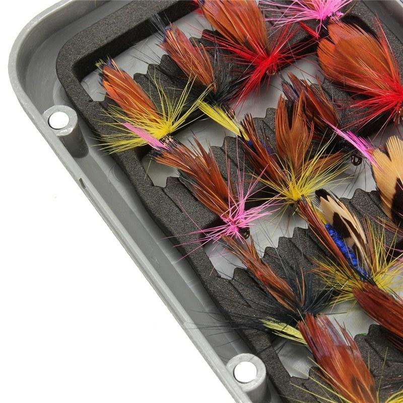 32pcs Fly Fishing Lure Set Artificial Insect Bait Trout Fly Fishing Hooks Tackle Case Box - Gogobomo Gear