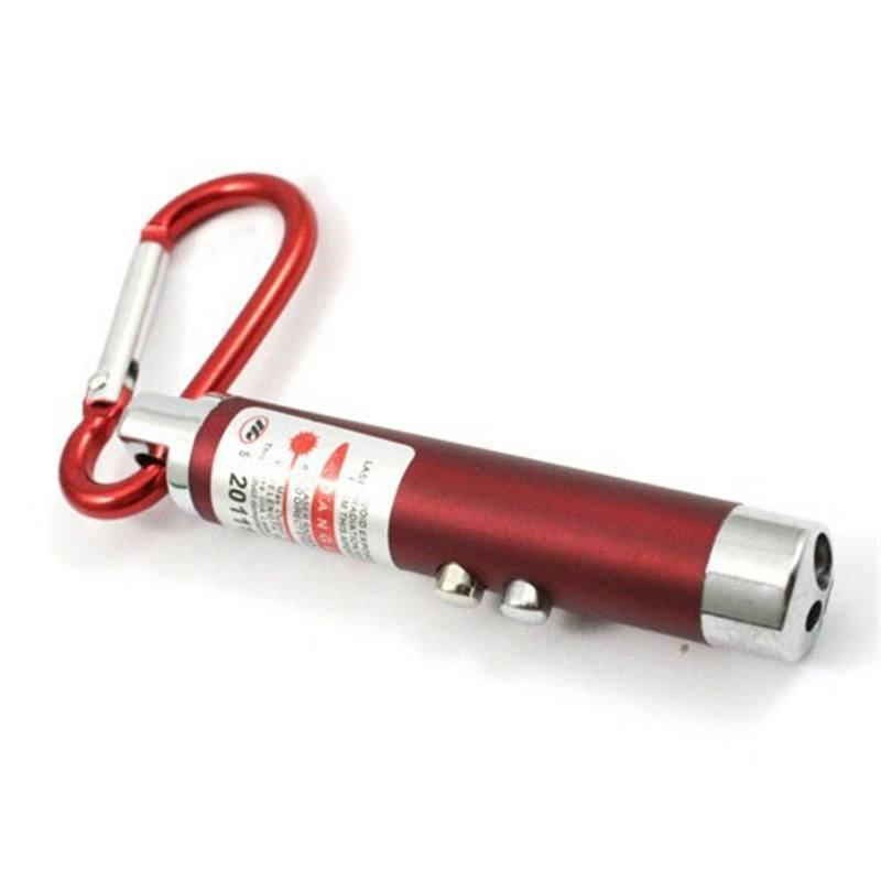 1Pc LED Lazer 3 in 1 Mini Red Laser Pointer 2 LED Flashlight UV Torch With Keychain - Gogobomo Gear