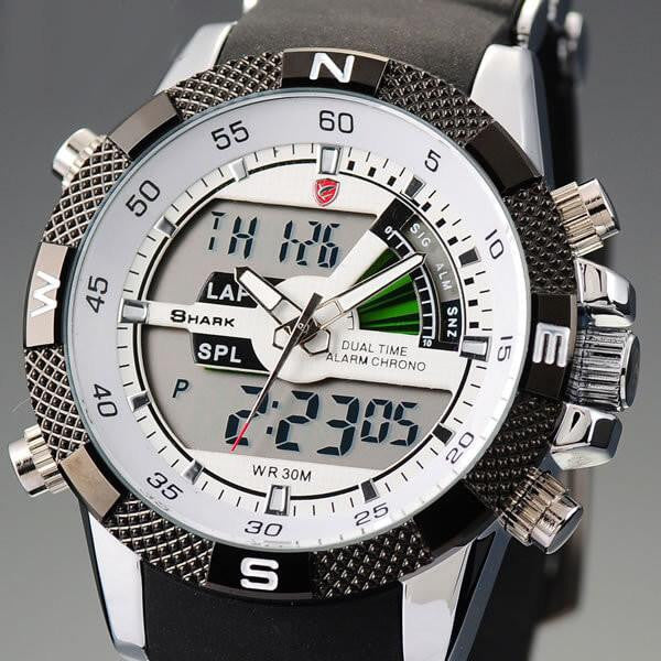 Official Shark Porbeagle Series Rubber LCD Digital Analog Sports Army Watch