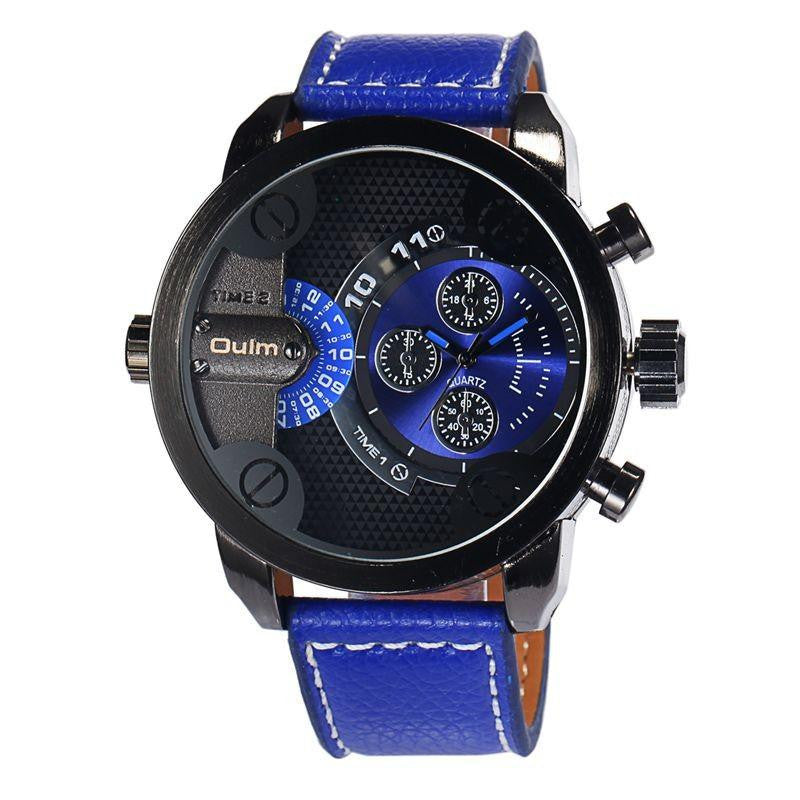 Modern Military Mens Watch with Fine Leather Strap and Big Dial