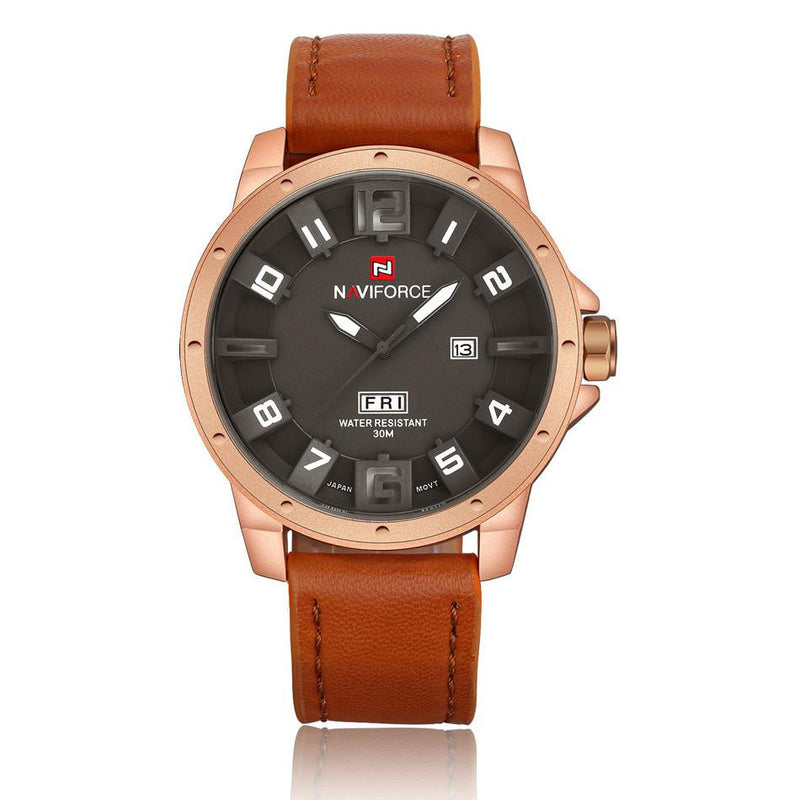 NAVIFORCE Luxury Military Watch for Men with 3D Face Analog Display and Genuine Leather Strap