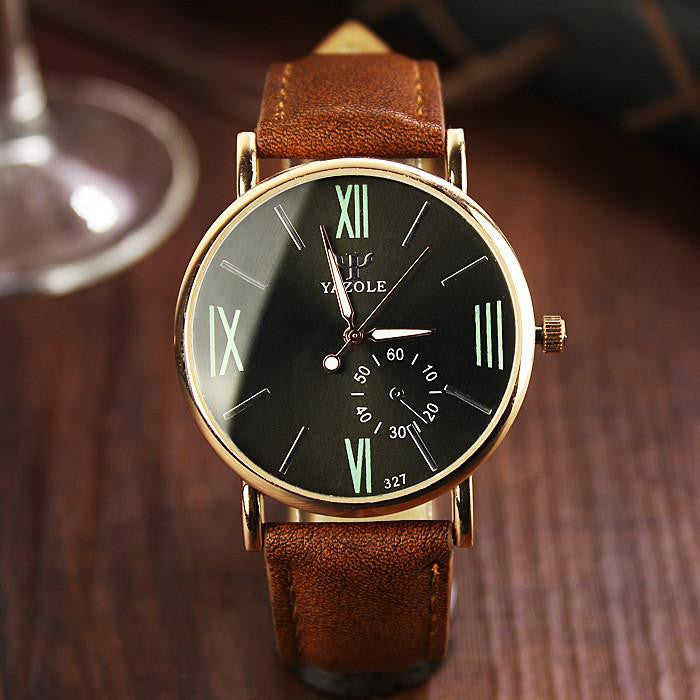 Luxurious Classic-Style YAZOLE Watch For Men with Analog Display and Genuine Leather Strap