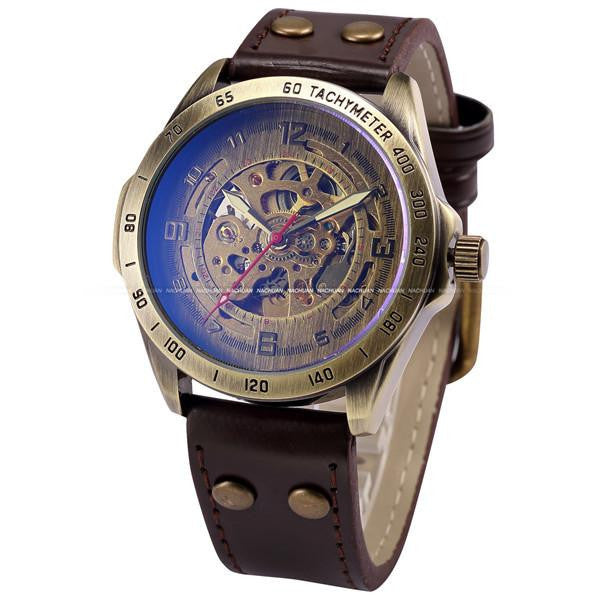 Luxurious Vintage Skeleton Mechanical Watch for Men with Genuine Leather Strap