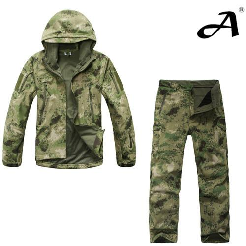 Camouflage Hunting Outdoor Tactical Military Fleece Jacket+ Uniform Pants Set