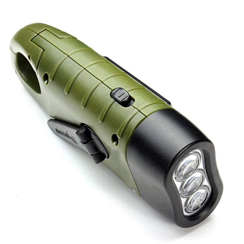 Portable Emergency Flashlight with Hand Crank and Solar Power